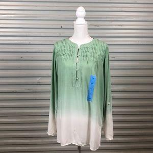 Bandolino Women's Moon Glass White Dyed Tunic Top